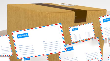 caixa de correio : Delivery of correspondence worldwide. Mail and parcel delivery. Stock Footage