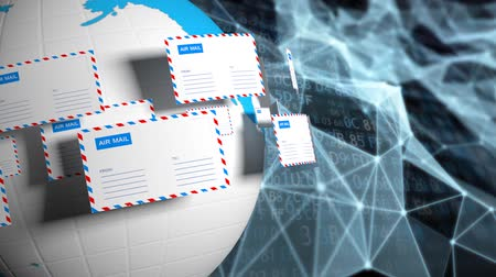 levelezés : Many letters fly in a circle. Internet mail. Delivery of correspondence worldwide. High tech background.