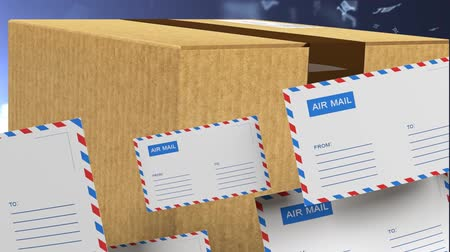 makbuz : Delivery of correspondence worldwide. Mail and parcel delivery. Video with alpha channel. 72 Stok Video
