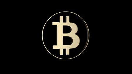 munt : Bitcoin-aanduiding. Bitcoin gouden valuta. Stockvideo