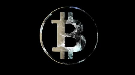 斧 : Bitcoin virtual currency concept. High tech technology