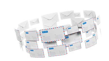 contornos : Many letters fly in a circle. Internet mail. Correspondence