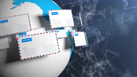 hírlevél : Many letters fly in a circle. Internet mail. Delivery of correspondence worldwide. High tech background.