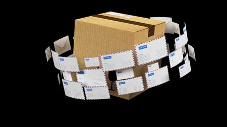 recipient : Delivery of correspondence worldwide. Mail and parcel delivery. Video with alpha channel.