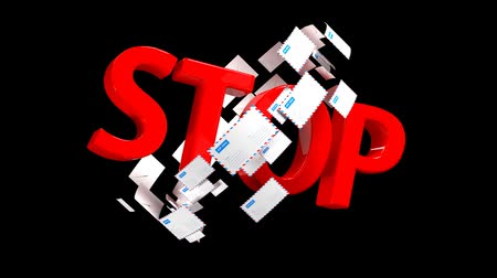 caixa de correio : STOP sign symbolizing a ban on a large number of letters or spam Stock Footage