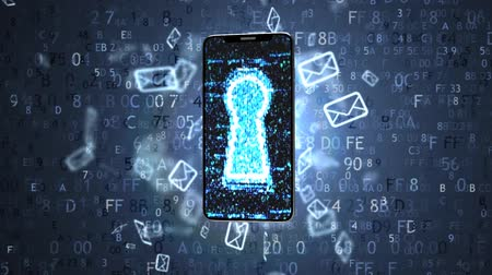 gdpr : Information is protected in your phone. Protect your information. Stock Footage