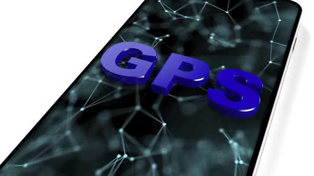 applicaties : GPS in de telefoon. Zoek het gewenste pad door de gps. Geolocatie Stockvideo