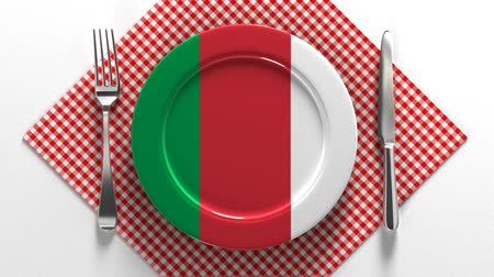 Italian Cuisine. Flag of Italy on a plate. Dishes made in Italy. Cook according to italian recipe.