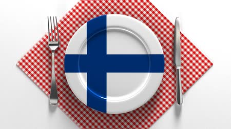 meat pie : National dishes of Finland. Delicious recipes from Scandinavia. Flag on a plate with food from Finland.