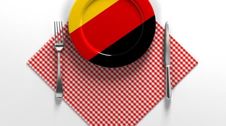 gevrek : National dishes of Germany. Delicious recipes from Europe. Flag on a plate with food from Germany. Stok Video