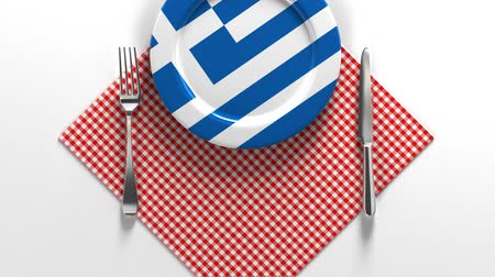 National dishes of Greece. Delicious recipes from Europe. Flag on a plate with food from Greece. Vídeos