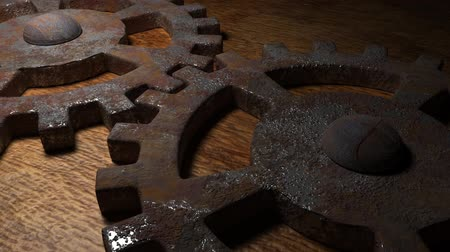 mecânica : Old rusty gear mechanism. The concept of reliability of the mechanism. Teamwork. Big old gears. Stock Footage