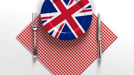 National dishes of United Kingdom of England. Delicious recipes from Europe. Flag on a plate with food from United Kingdom of England.