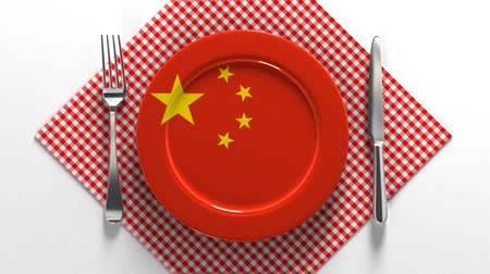 National dishes of China. Delicious recipes from Europe. Flag on a plate with food from China.