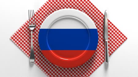 meat pie : National dishes of Russia. Delicious recipes from Europe. Flag on a plate with food from Russia. Stock Footage