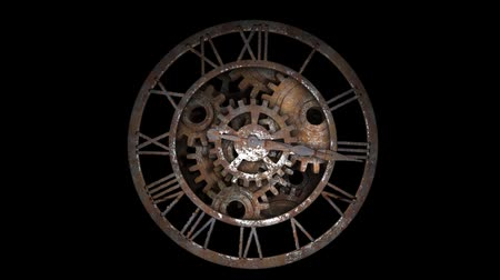 antikalar : Time laps of an old watch. The hands of the clock spin quickly. Indicate the time 12:00.