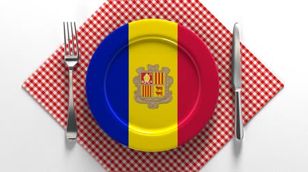 National dishes of Andorra. Delicious recipes from Europe. Flag on a plate with food from Andorra.