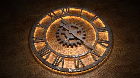antikalar : Time laps of an old watch. The hands of the clock spin quickly. Indicate the time is 12:00. Clock Time 12:00.