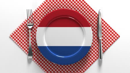 National cuisine and dishes of the Netherlands. Delicious recipes from Europe. Flag on a plate with food from Netherlands. Stok Video