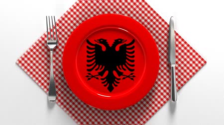 beef dishes : National cuisine and dishes of Albania. Delicious recipes from Europe. Flag on a plate with food from Albania.
