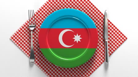 National cuisine and dishes of Azerbaijan. Delicious recipes from Europe. Flag on a plate with food from Azerbaijan. Stok Video