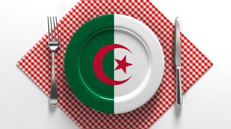 algeria : National cuisine and dishes of Algeria. Delicious recipes from Europe. Flag on a plate with food from Algeria.