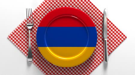 domates sosu : National cuisine and dishes of Armenia. Delicious recipes from Europe. Flag on a plate with food from Armenia. Stok Video