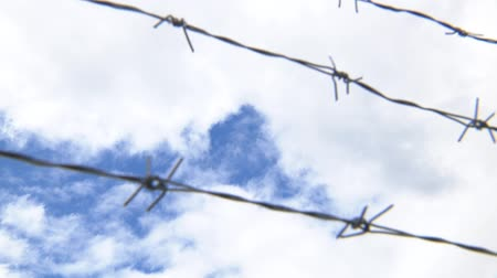 barbed wire against the sky. Barbed wire and sky focus.