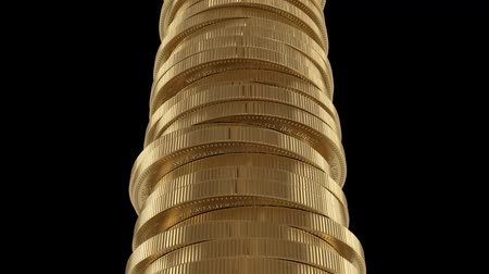 A stack of gold coins. The concept of success and wealth. Much money.