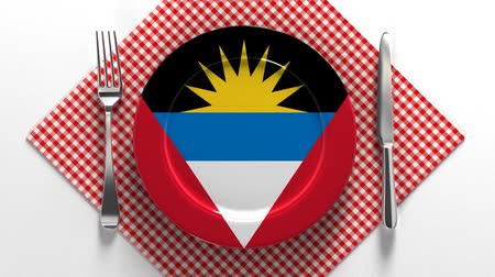 původní : National cuisine and dishes of Antigua and Barbuda. Delicious recipes. Flag on a plate with food from Afghanistan. Antigua and Barbuda.