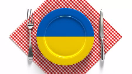 burak : National dishes of Ukraine. Delicious recipes from Europe. Flag on a plate with food from Ukraine.