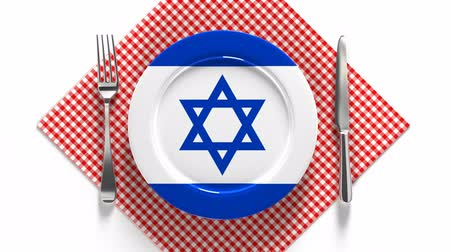 National cuisine and dishes of Israel. Delicious recipes from Asia. Flag on a plate with food from Israel. Vídeos