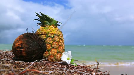 ananas : Tropical pineapple cocktail drink at the caribbean beach. Stok Video