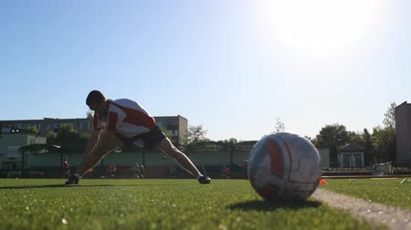 striker : Workout of footballer before training Stock Footage
