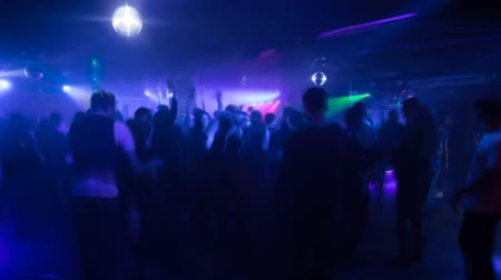 Disco party in a night club, timelapse,