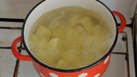 In an old red pot, potatoes are brewed 動画素材