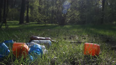 ökológiai : mountain of plastic bottles, garbage, waste lies in a forest in the nature, garbage in the woods, plastic Stock mozgókép