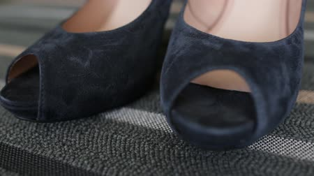 Beautiful black female shoes Stok Video