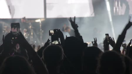 Spectators take a concert on the phone and wave their hands