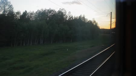 inside of train : View from the window of the car, at the turn of the railway, you can see the beginning of the train Stock Footage