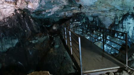speleology : bridge inside the underground cave