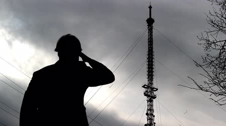 yelek : Inspector in a protective helmet examines the telephone tower
