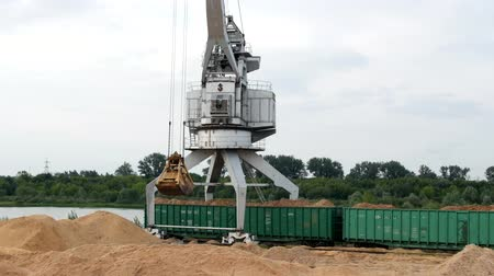 pétala : Port crane loads freight railway cars with wooden chips, exports, export, chip Stock Footage