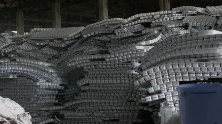 polyethylene : storage room of plastic cans in recycling factory Stock Footage