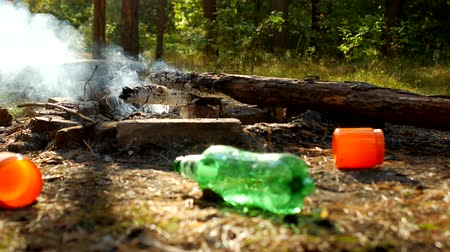 discard : Rubbish left by people in a clearing in the woods, after outdoor recreation, fires are burning, pollution of nature is trash, litter Stock Footage
