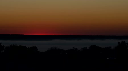 cockcrow : Time lapse morning red sun in thick fog sunrise, the roof of a residential building and the forest, taymlaps sunrise in the morning on the outskirts of the city, outdoor