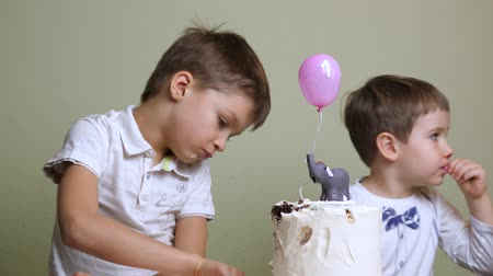 white elephant : Children eating birthday cake. Appetizing cake background. Stock Footage