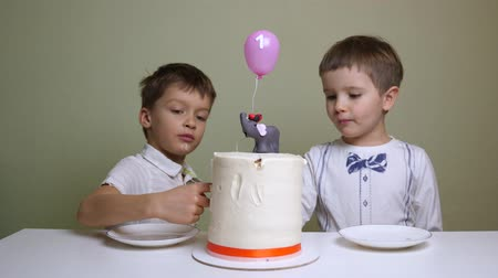 white elephant : Heres a true gourmet. Children eating birthday cake Stock Footage