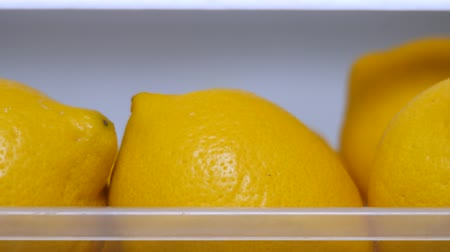 césar : Yellow lemons keeping freshness in fridge. Citrus fruits for food preparing. Fresh yellow lemons in icebox. Copy space. Vitamin C background. Dieting concept. Fruits freshness concept. Healthy food.