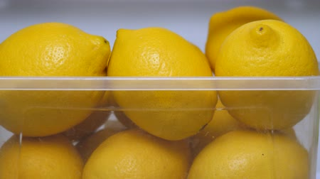 kept : Fresh lemons background. Lemons ready to use. Organic food, fruits. Detox drink. Citrus fruits in refrigerator. Fresh yellow lemons in icebox. Vitamin C. Copy space